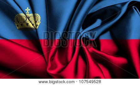 Liechtenstein flag made from silk