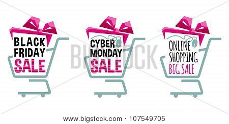 Labels For Black Friday And Cyber Monday. Supermarket Shopping Carts. Shopping Sale Concept.