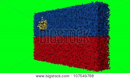 Liechtenstein flag made from leaves