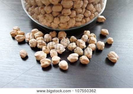 Dried Chickpeas in a glass jar on the table