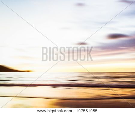 Abstract Seascape With Blurred Panning Motion On Paper Background