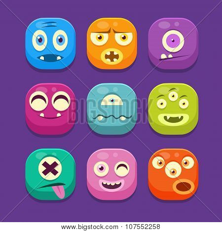 Monster Web Icons, Colourful Vector Illustrations