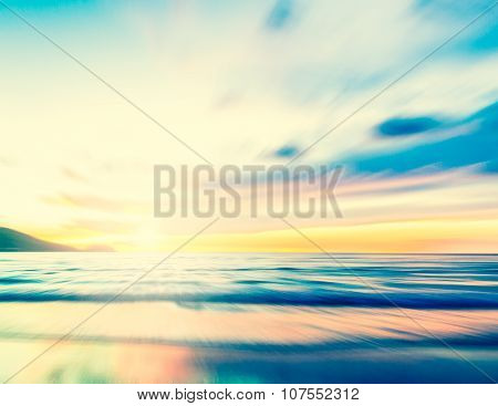 An Abstract Seascape With Blurred Zoom Motion On Paper Background