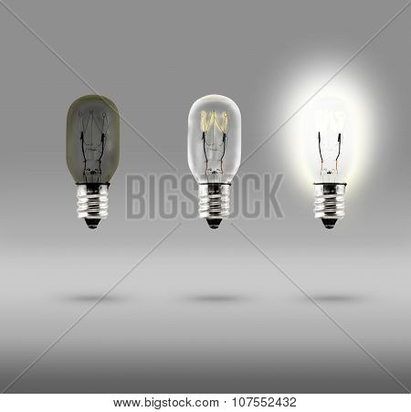 Sequence Of Creative Idea,three Bulb In Studio Room