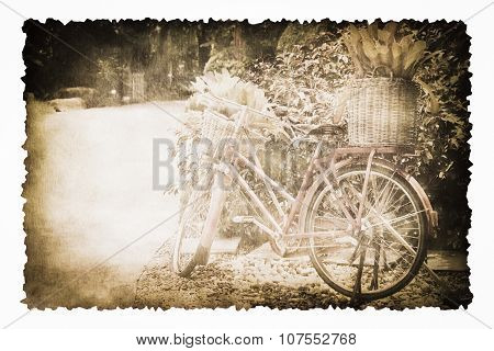 An Old Bicycle In The Garden On The Old Brown Burnt Paper