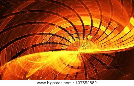 Yellow Grid Wave Fractal Dark Background