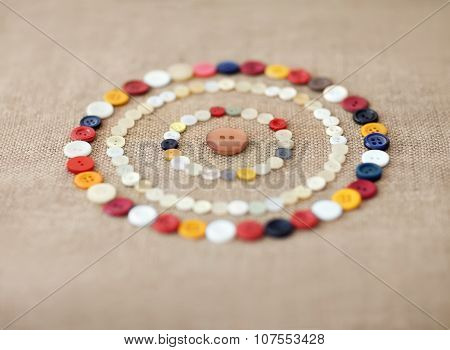 Circles Of Colorful Sewing Buttons. Background
