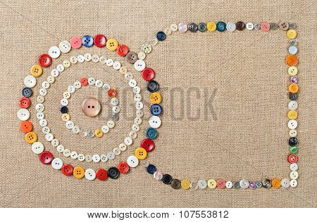Circles Of Colorful Sewing Buttons With Copy Space