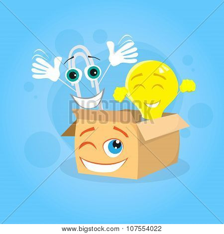 Paperclip Cardboard Box Yellow Light Bulb Cartoon Character