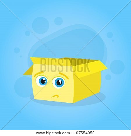 Yellow Cardboard Box Confused Doubtful Cartoon Character Emotion