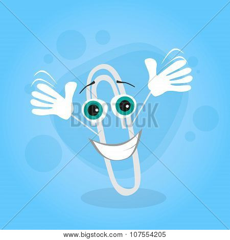 Paperclip Cartoon Character Happy Smile Clip Office