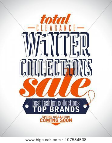 Winter collections sale poster in retro style, rasterized version.