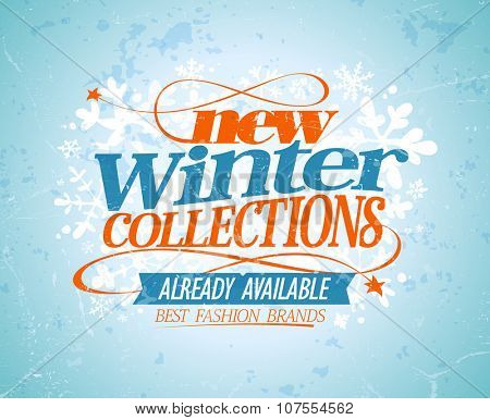 New winter collections already available, sale design, rasterized version.