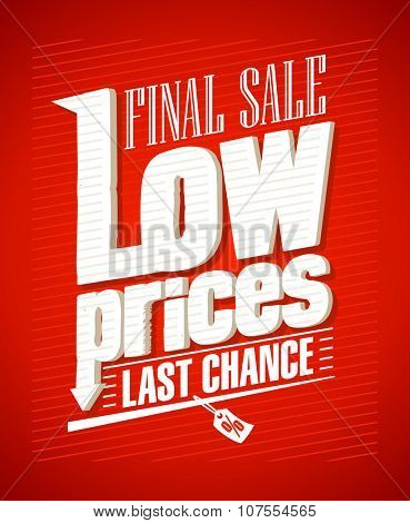 Low prices, final sale typographic design, rasterized version.