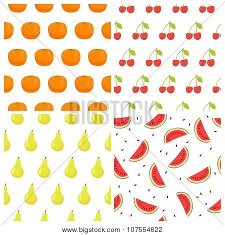 Vector Seamless Pattern Set With Fruits. Watermelon, Orange, Cherry And Pears. Healthy Food Backgrou