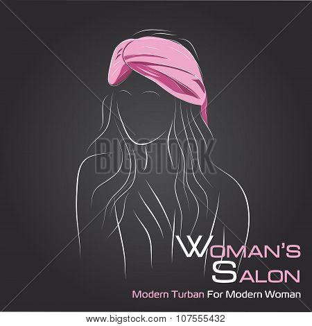 Woman Look At Side In Pink Turban On Black