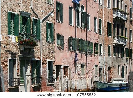 Venice canal building close up