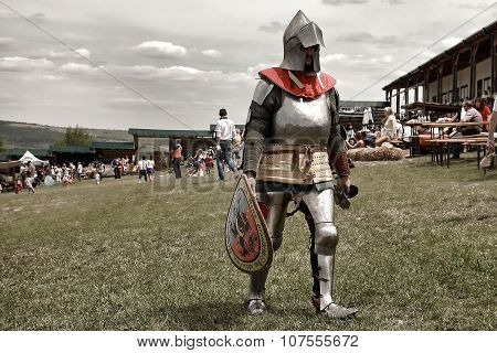 Vatra, Moldova. June 28, 2015. Medieval Festival. Unknown Participant