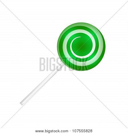 Lollipop Striped In Christmas Colours. Spiral Sweet Candy With Green And White Stripes. Vector Illus