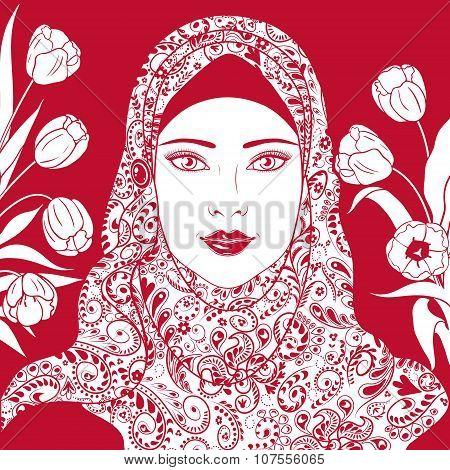 Contour Image Of Muslim Girl In Hijab.