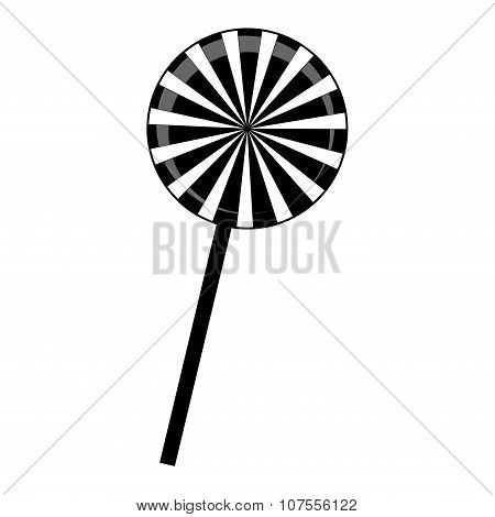 Christmas Striped Lollipop Silhouette. Spiral Sweet Candy With Black And White Stripes. Vector Illus