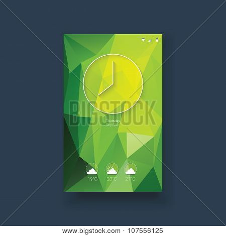 Mobile user interface template with clock icon and weather forecast icons set. Modern line art ui on