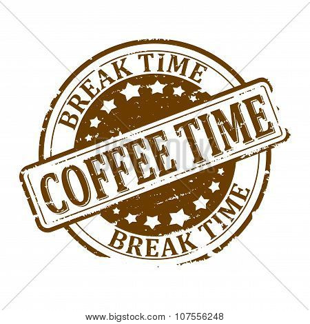 Damaged Round Brown Stamped -  Coffee Time - Break Time - Illustrations