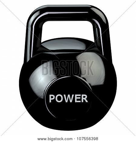 Black Kettlebell With Word Power Isolated On White Background.