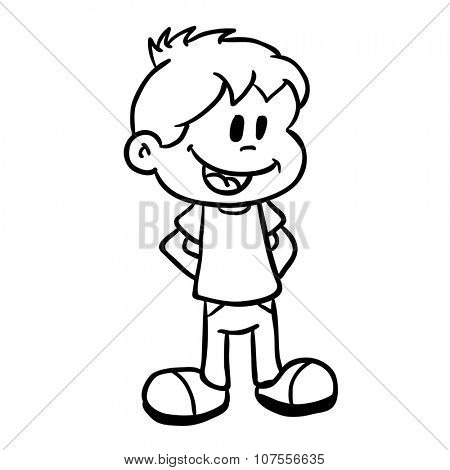 simple black and white smiling boy cartoon