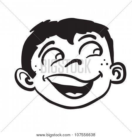 simple black and white smiling boy head cartoon
