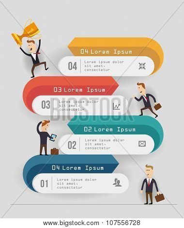 Business timeline template. with cartoon figures Vector illustration.