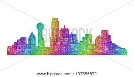 Dallas skyline silhouette - multicolor line art