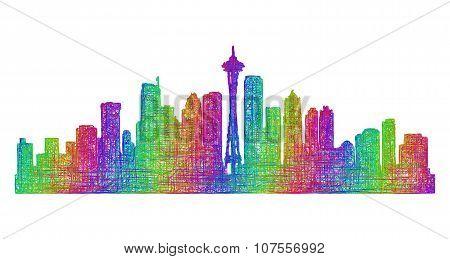 Seattle skyline silhouette - multicolor line art