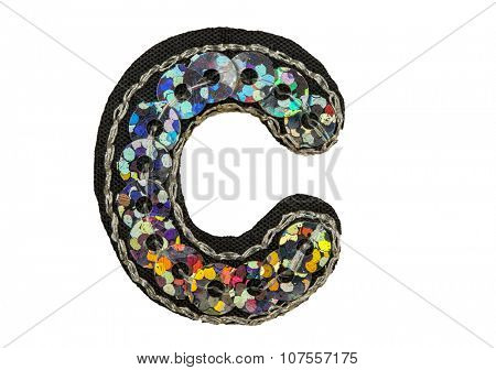 Sequin fonts isolated on white, Capitol letter C