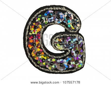 Sequin fonts isolated on white, Capitol letter G