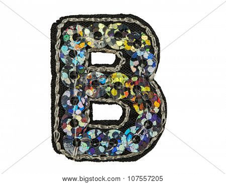 Sequin fonts isolated on white, Capitol letter B