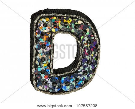 Sequin fonts isolated on white, Capitol letter D