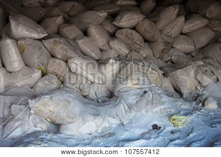 Pile Of White Sacks With Synthetic Fertilizer