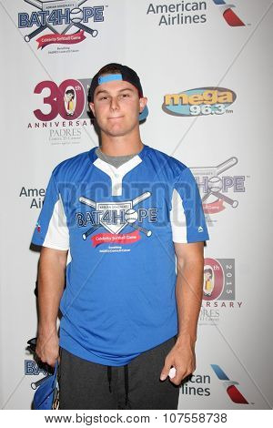 LOS ANGELES - NOV 7:  Joc Pederson at the Adrian Gonzalez's Bat 4 Hope Celebrity Softball Game PADRES Contra El Cancer at the Dodger Stadium on November 7, 2015 in Los Angeles, CA