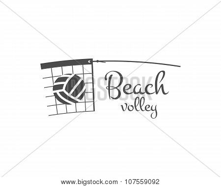 Beach Volleyball label, badge, logo and icon. Sports insignia. Best for volley club, league competit