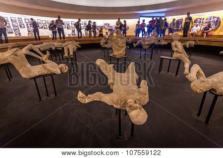 Tourists visit the Pompeii city