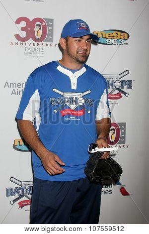 LOS ANGELES - NOV 7:  Adrian Gonzalez at the Adrian Gonzalez's Bat 4 Hope Celebrity Softball Game PADRES Contra El Cancer at the Dodger Stadium on November 7, 2015 in Los Angeles, CA