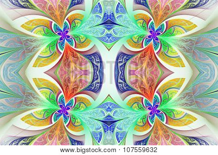 Multicolored Symmetrical Flower Pattern In Stained-glass Window Style.