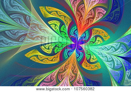 Multicolored Fractal Flower Or Butterfly Background In Stained-glass Window Style.
