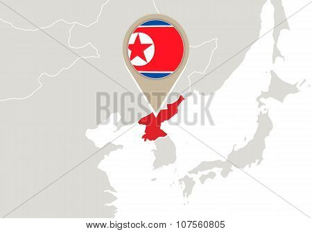 North Korea On World Map