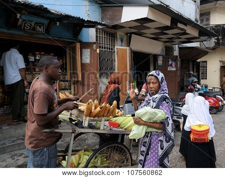 Street Sellers In Africa, Tanzania