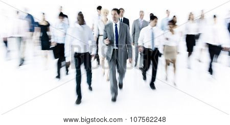 Large Group of Business People Walking, blurred
