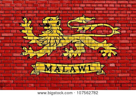 Presidential Standard Of Malawi Flag Painted On Brick Wall