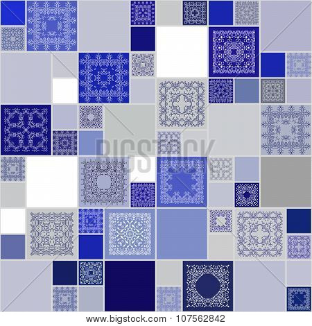 Seamless Abstract Pattern Frame Of Trendy Colored Floral Flower Tiles. For Wallpaper, Surface Textur