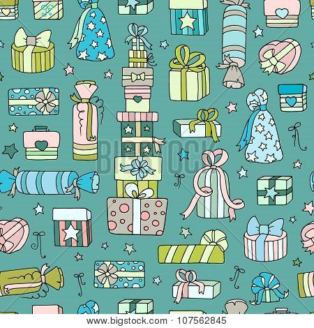 Seamless Pattern With Doodle Gift Boxes